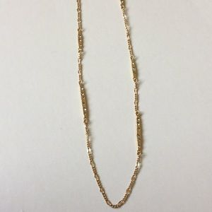 Long Gold & Diamonds Bar Necklace